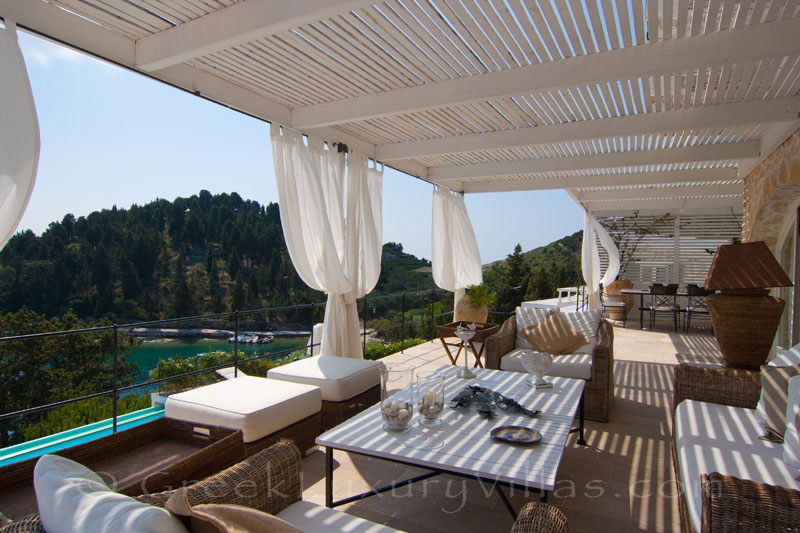 The seaview from the lounge of a seafront luxury villa in Paxos
