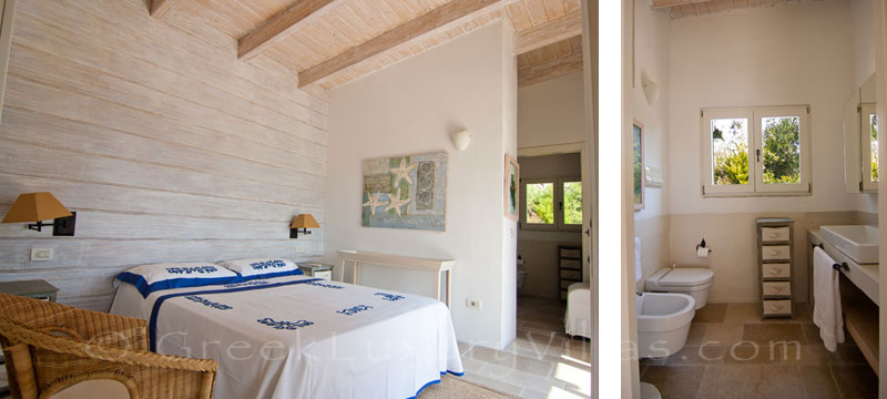 Bedroom with seaview in a seafront luxury villa in Paxos