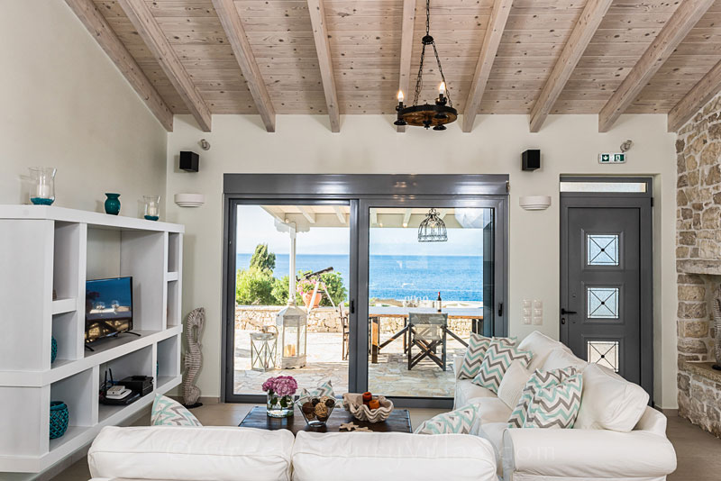 A living-room with seaview in a seafront villa in Paxos