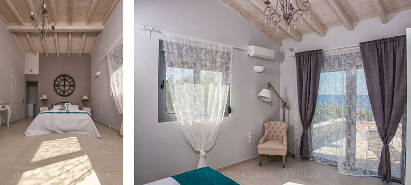Bedroom with a seaview in a seafront villa in Paxos