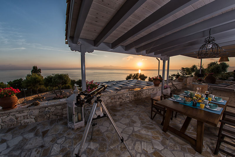 The sunset from a verandah of the seafront villa in Paxos