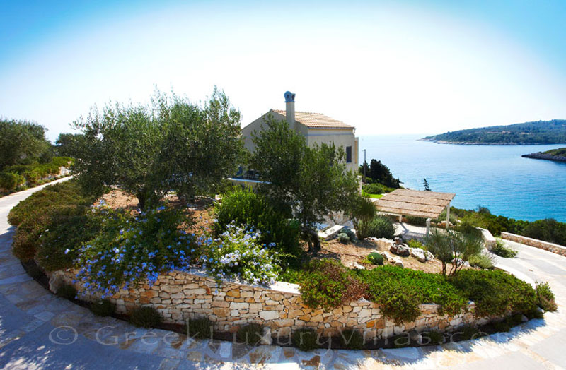 Seaview from a beachfront villa with a pool in Paxos