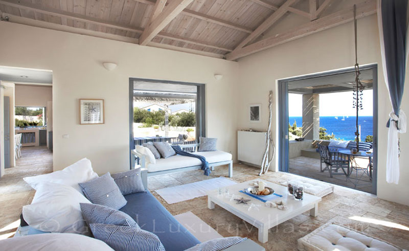 Seaview from the lounge of a beachfront villa with a pool in Paxos