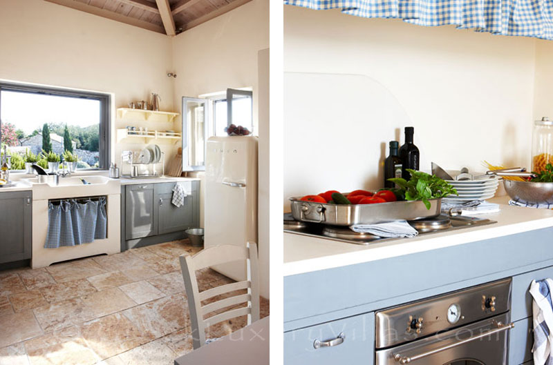 The kitchen of beachfront villa with a pool in Paxos