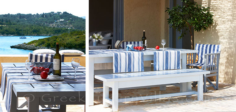 Dine with sea view at a beachfront villa with a pool in Paxos