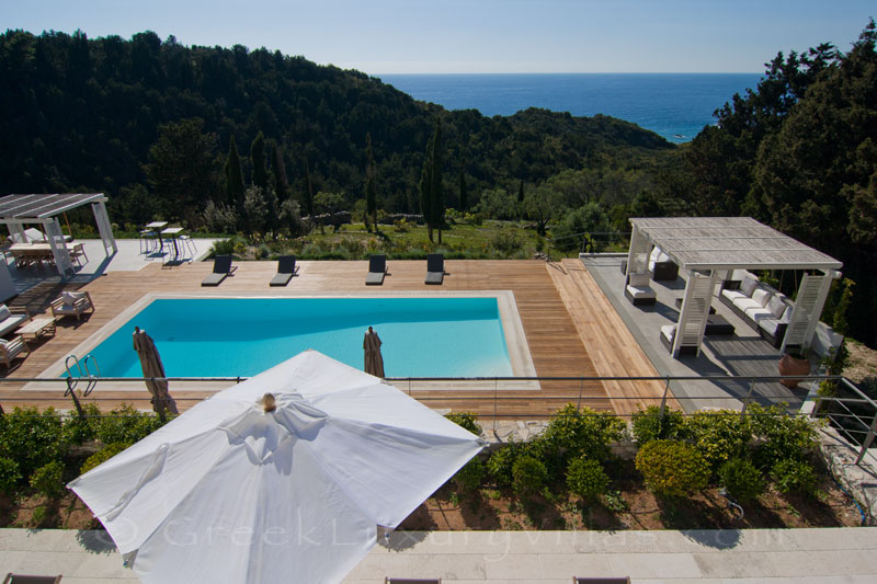 A modern luxury villa with a pool and seaview in Paxos
