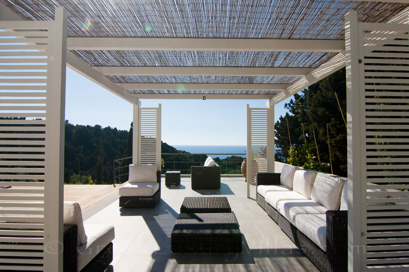 A modern luxury villa in Paxos with a pool bar lounge with seaview