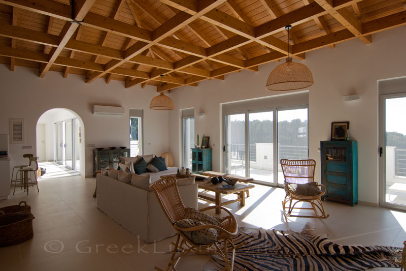The living-room in a modern luxury villa with a pool and seaview in Paxosvilla in Paxos