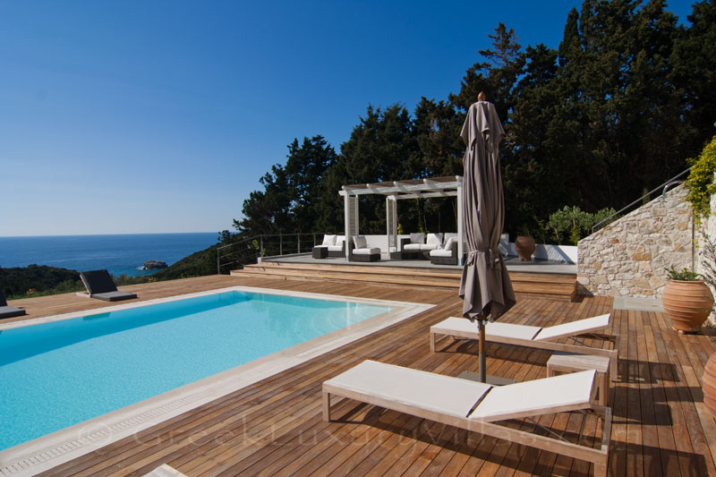 A modern luxury villa with a pool and sea view in Paxos