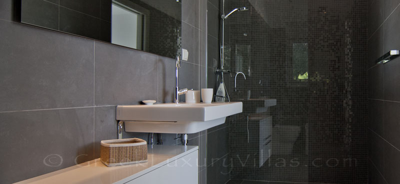A bathroom of the modern luxury villa with a pool in Paxos