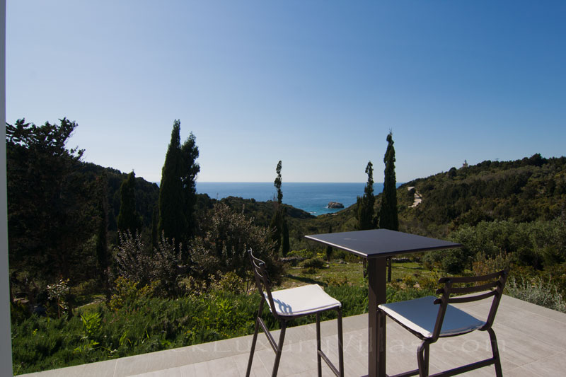 Sea view from a modern luxury villa in Paxos