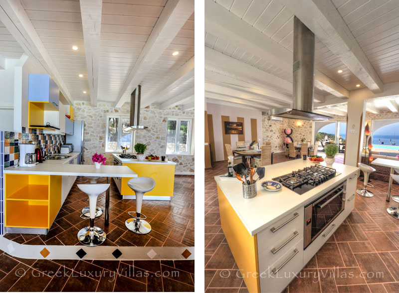 Open plan kitchen in a cheerfully decorated villa with a pool and seaview in Paxos