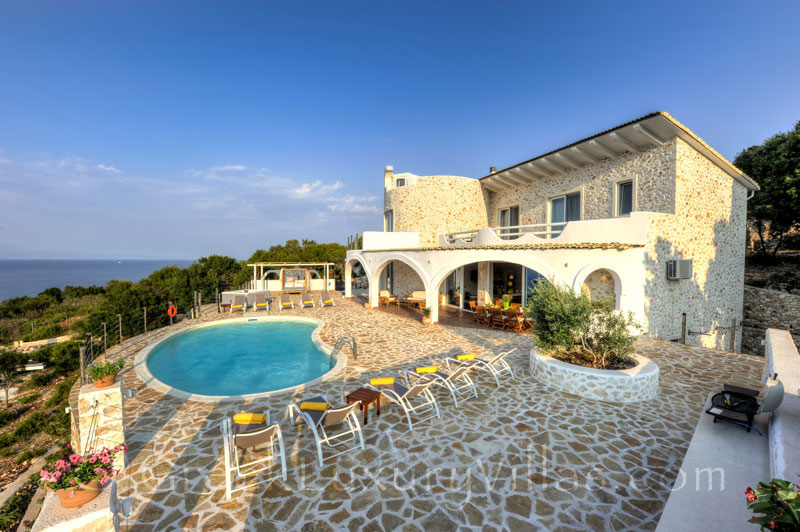 The cheerfully decorated villa with a pool and seaview in Paxos