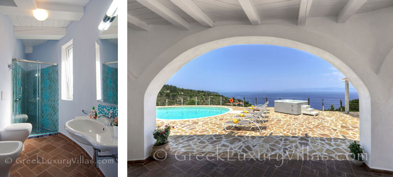 The terrace of a bedroom of a villa with a pool in Paxos