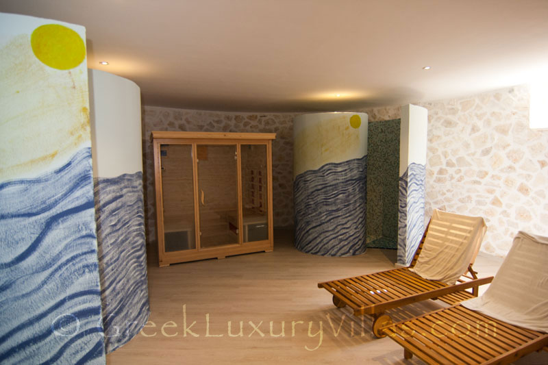 The sauna and the gym of a luxury villa with a pool in Paxos