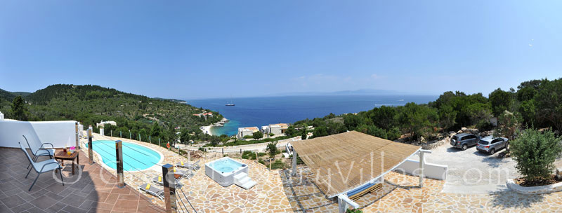 Panoramic view of the sea from a villa with a pool in Paxos