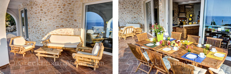 The outdoor dining area of a cheerfully decorated villa with a pool and seaview in Paxos