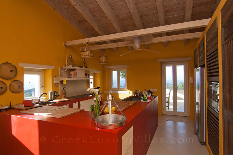 A kitchen od a hiltop estate in Paxos