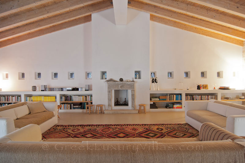 The living-room of a hiltop estate in Paxos