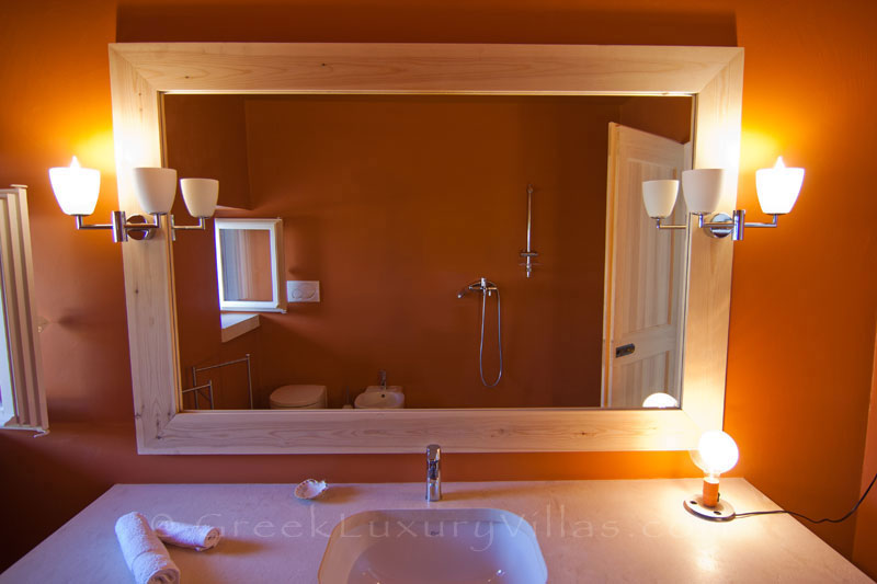 A bathroom in the guesthouse of a hiltop estate in Paxos