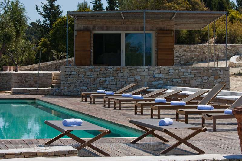 The pool house in hiltop estate in Paxos