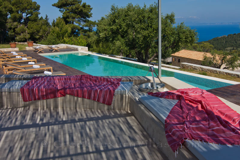 The view from the pool house of a hiltop estate in Paxos