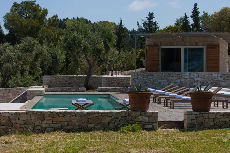 A hiltop estate with a pool house in Paxos