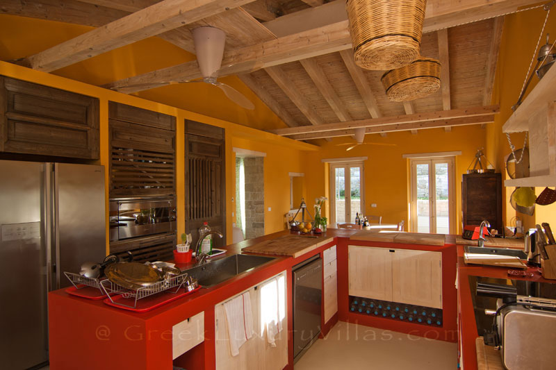 The kitchen of a hiltop estate in Paxos