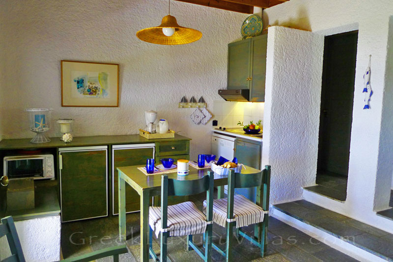 The cheerful interior of the beach bungalows in Peloponnese