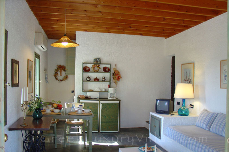 The romantic interior of the beach bungalows in Peloponnese