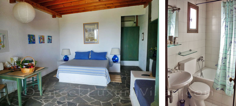 The romantic bedroom of the beach bungalows in Peloponnese
