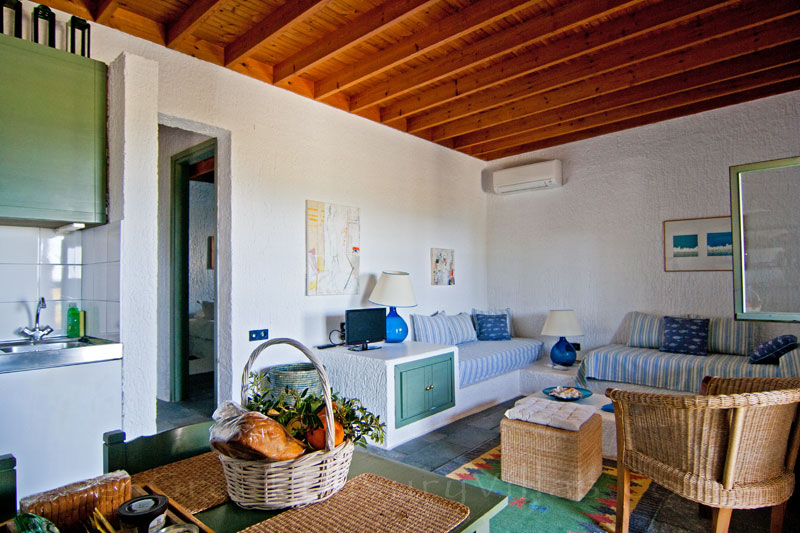 The romantic living-room of the beach bungalows in Peloponnese
