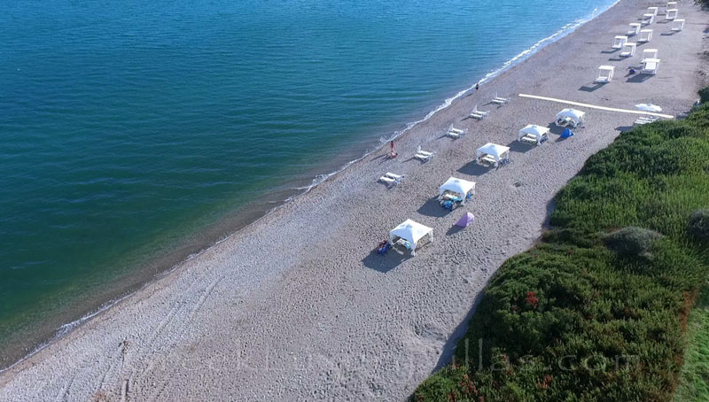 The beach bungalows on the beach of Peloponnese