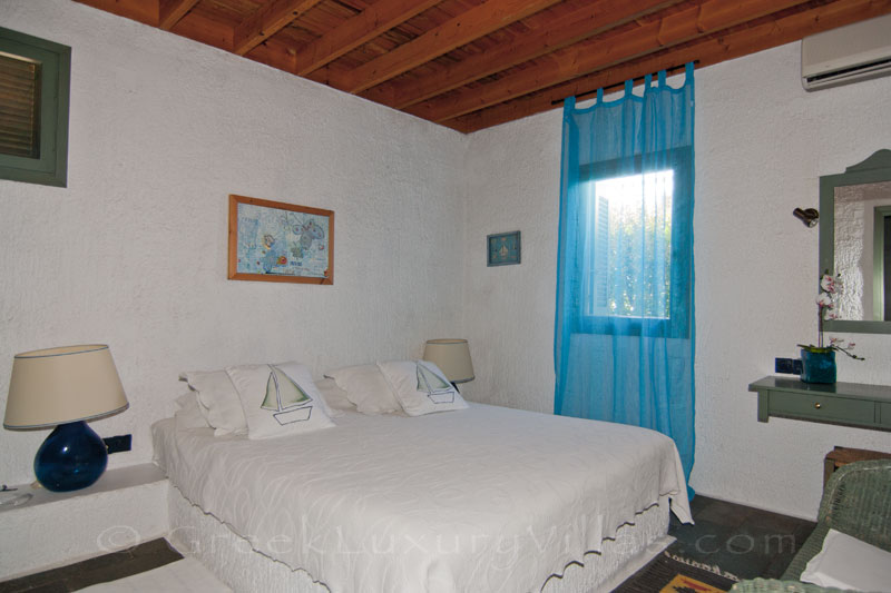 A bedroom of the beach bungalows in Peloponnese