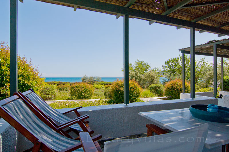 Sea view from the veranda of the beach bungalows of Peloponnese