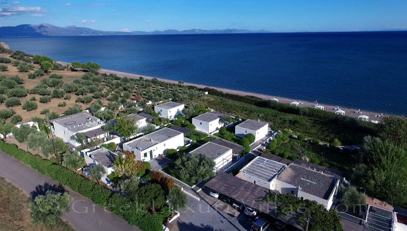 The seafront of the bungalows on the beach of Peloponnese