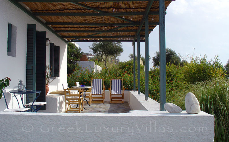 Verandah with seaview at the beach bungalows of Peloponnese