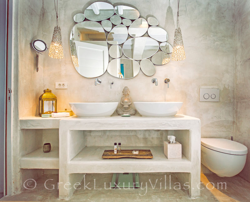A bathroom in the luxury villa with a pool in Rhodes