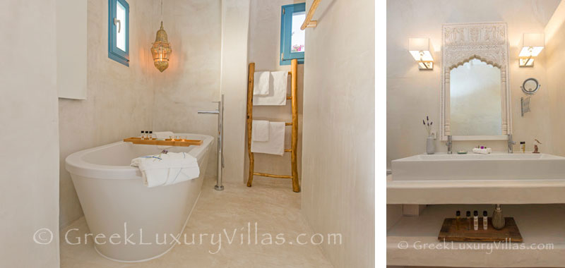 A bathroom in the luxury villa with a pool in Rhodos