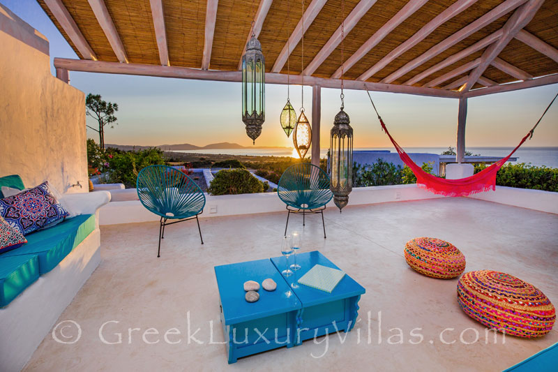 Sunset from the roof terrace of a luxury villa in Rhodes