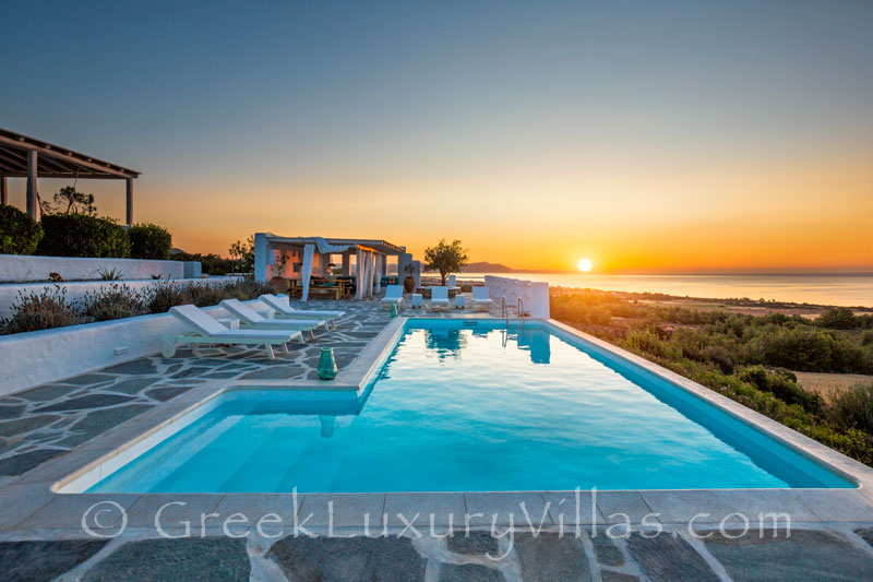 Sunset sea view from a luxury villa with a pool in Rhodes
