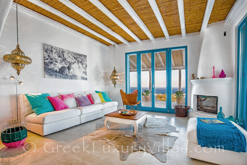 A cheerful living-room in a luxury villa with a pool in Rhodes