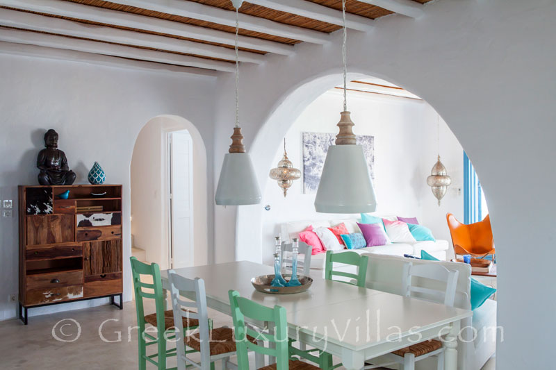 The dining-room in a luxury villa with a pool in Rhodes