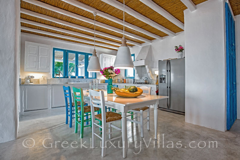 The kitchen in a luxury villa with a pool in Rhodes