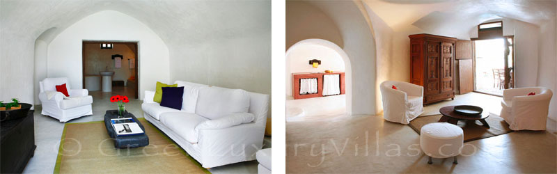 The cave style living-room in a luxurious villa of a traditional village in Santorini