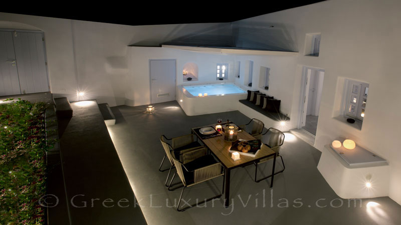 A night view of the contemporary luxury villa in Santorini