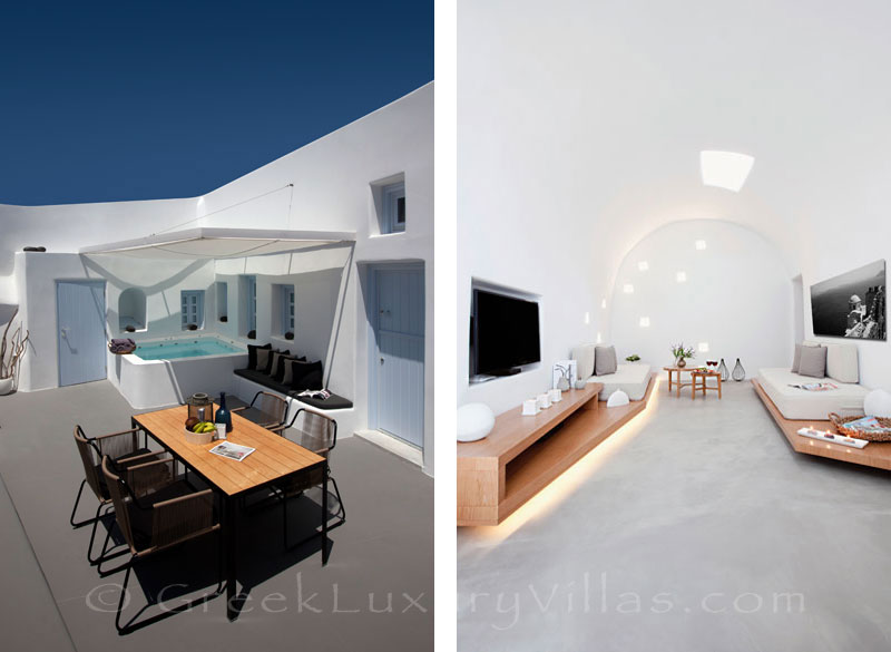 The white interior of a contemorary luxury villa with a jacuzzi in Santorini