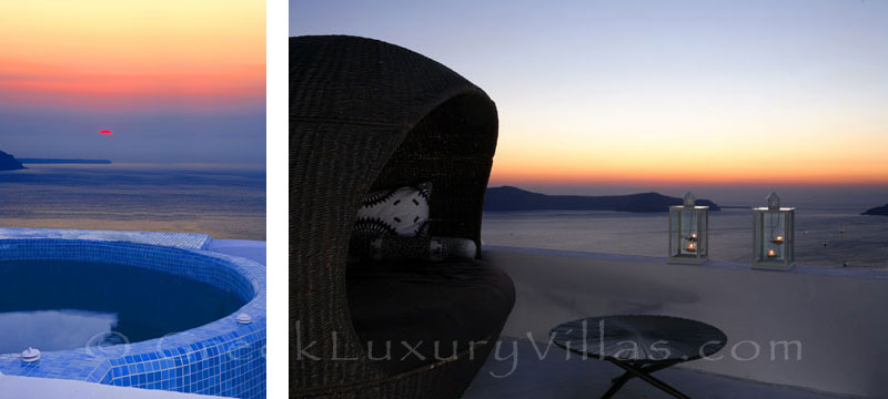 The sunset view from the rooftop jacuzzi of a luxury villa in Fira, Santorini