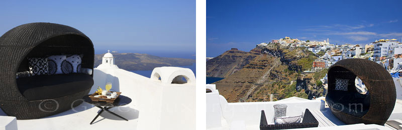 View of Imerovigli from the rooftop jacuzzi of a luxury villa in Fira, Santorini