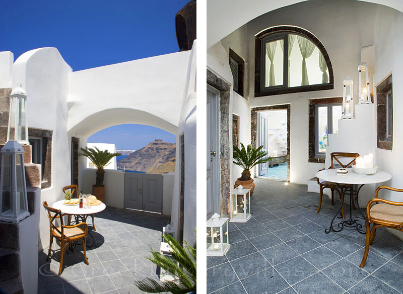 Entrance hall with privacy in a luxury villa in Fira, Santorini